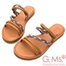 G.Ms. MIT系列-民族風彩色皮繩2way牛皮平底涼拖鞋-棕色