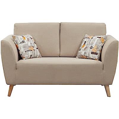 品家居 艾可利時尚米緹花布二人座沙發椅-140x82x90cm免組