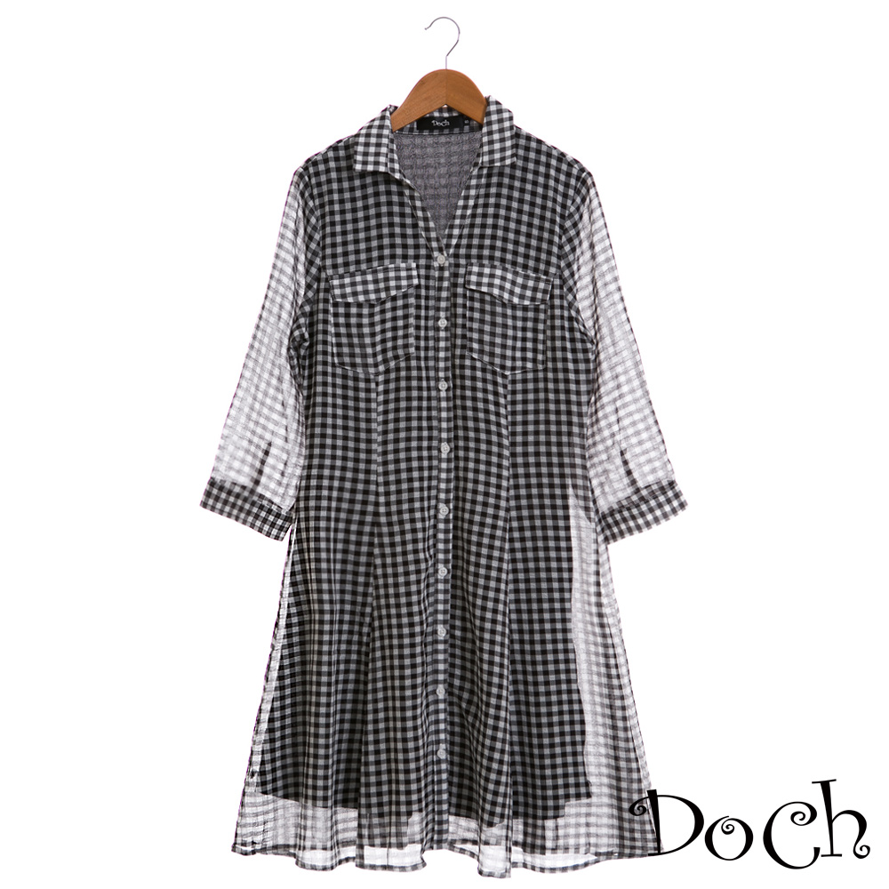 【Doch】日系滿版格子襯衫長洋裝(共兩色)