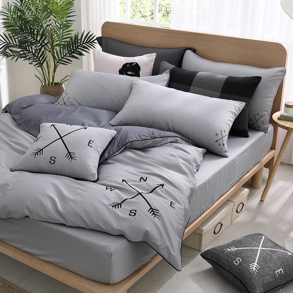 OLIVIA  Lawrence 淺灰X藍灰 標準雙人床包美式枕套三件組  MOC莫代爾棉 台灣製
