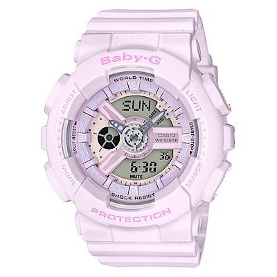 BABY-G 心花朵朵開粉嫩氣息休閒錶(BA-110-4A2)-櫻花香檳粉/43.3