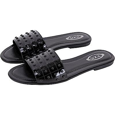 TOD'S Gommino 漆皮豆豆拼接平底涼鞋/拖鞋(黑色)
