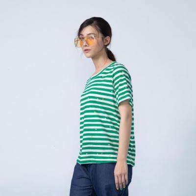 gozo 繽紛點點系列後鬆緊下擺條紋T恤(二色)