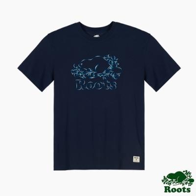 Roots男裝-漸層繡線海狸LOGO短袖T恤-藍色