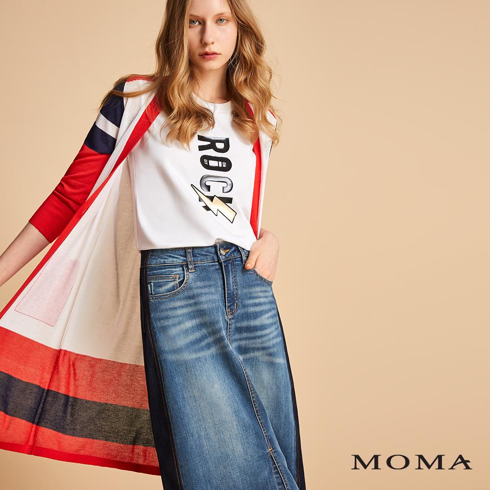 MOMA 跳色幾何針織長外套