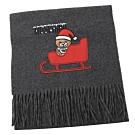 MOSCHINO 刺繡聖誕小熊圖樣羊毛圍巾(灰)