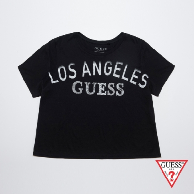GUESS-女裝-圖紋烙印短T-黑