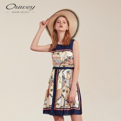 OUWEY歐薇 海洋風絲巾印花背心洋裝(藍)