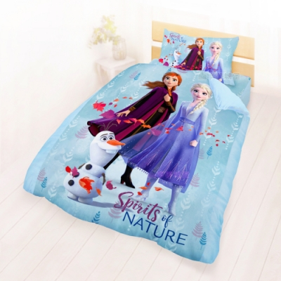 享夢城堡 單人床包雙人兩用被套三件組-冰雪奇緣FROZEN 秋日之森-藍