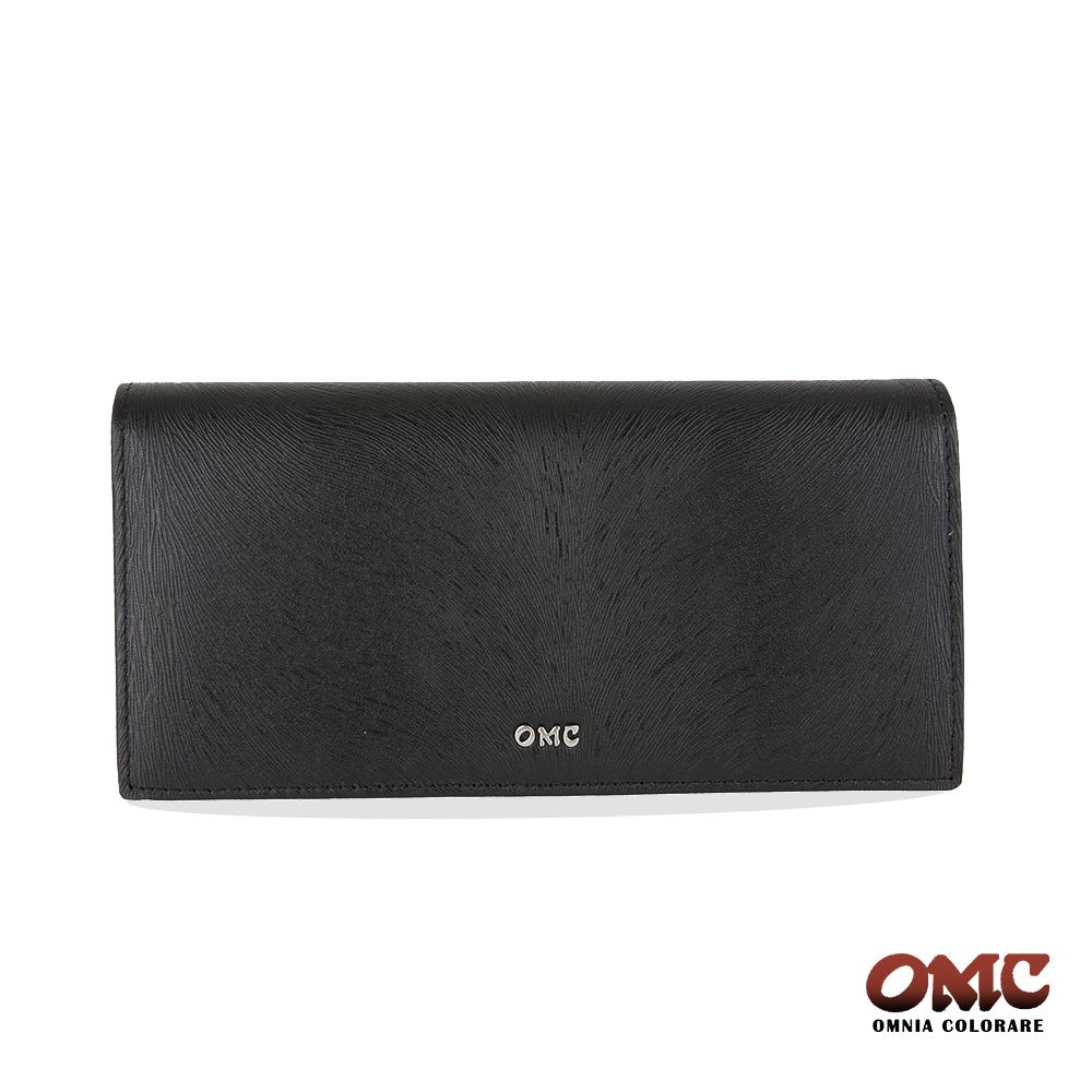 OMC 進口小牛皮-馬尾紋對折12卡透明窗零錢長夾-黑色