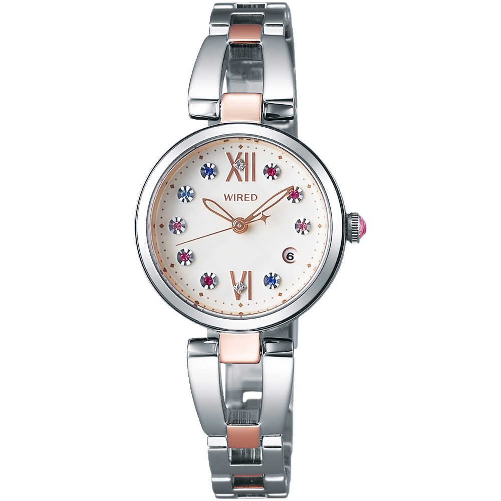 WIRED f 東京限定晶鑽女錶(AY8015X1)-米色x雙色版/26mm