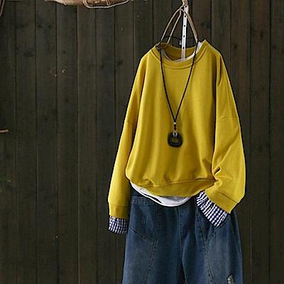淨色時尚格子拼接假兩件衛衣套頭衫上衣-設計所在