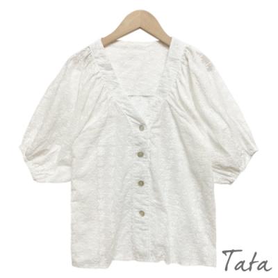V領燈籠袖緹花上衣 TATA-F