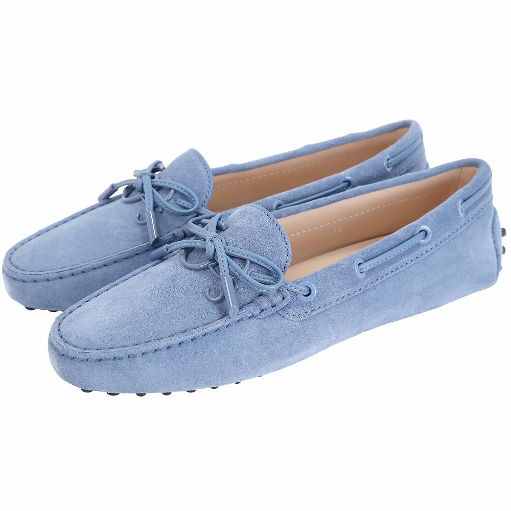 TOD'S Gommino 新版同色字母麂皮休閒豆豆鞋(女鞋/雲藍色)