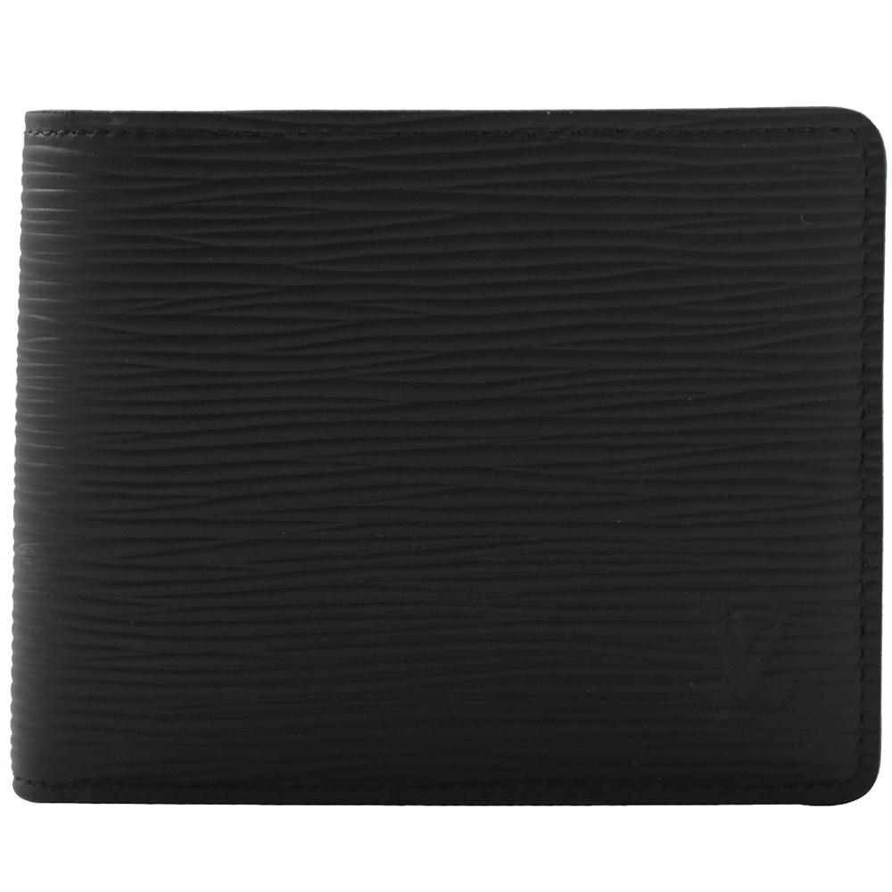 LV M60332 Slender EPI水波紋對開八卡短夾(黑)LV路易威登