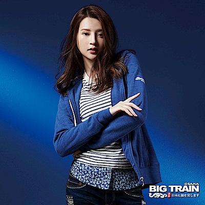 BIG TRAIN 竹節羅紋出芽連帽女外套-女-灰藍