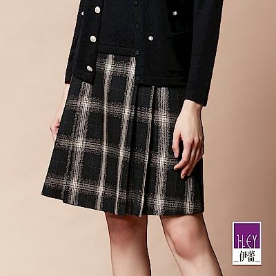 ILEY伊蕾 學院風織蔥格紋打褶A字裙(黑)