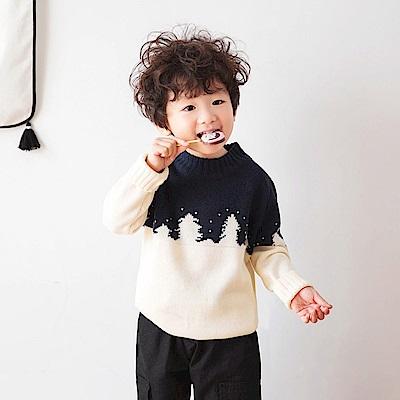 聖誕節混色圓領針織毛衣-OB大尺碼
