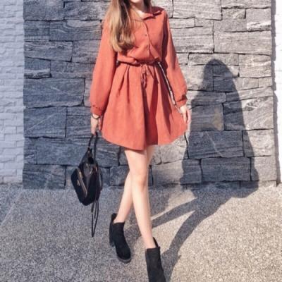 DoMiss遮肉收腰襯衫洋裝(2色)