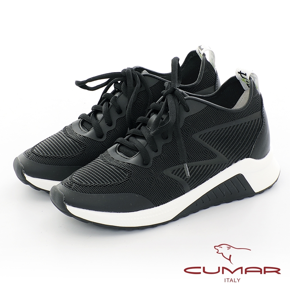 【CUMAR】休閒主義真皮拼接異材質休閒鞋-黑