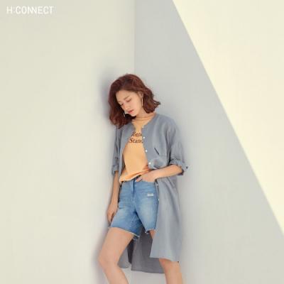 H:CONNECT 韓國品牌 女裝-正反印字清新圓領T-shirt-橘