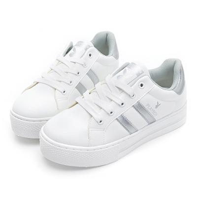 PLAYBOY彈性厚底小白鞋-白銀-Y62171E