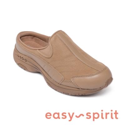Easy Spirit-seTRAVELTIME234 舒適款 輕量厚底包覆拖鞋 卡其棕