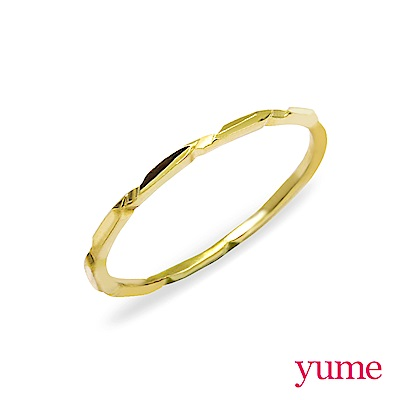YUME 百搭細戒(尾戒)-竹節(白K金/黃K金)