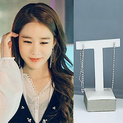梨花HaNA 韓國925銀觸及真心劉仁娜細鑽層次鏈條耳環