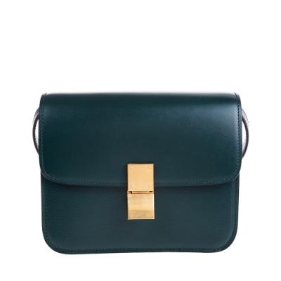 CELINE 新款TEEN CLASSIC BOX頂級牛皮金釦肩背/斜背包 (亞馬遜綠)
