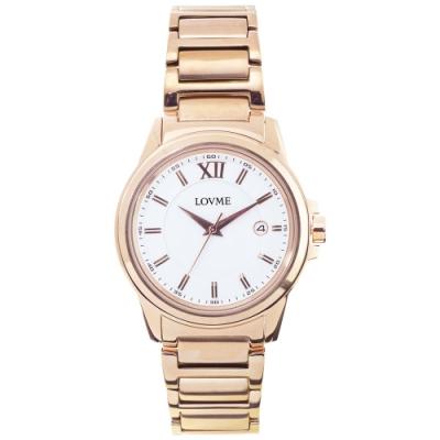 LOVME 經典型男風格時尚手錶-IP玫x白/42mm