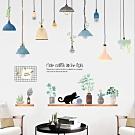 半島良品 DIY北歐風綠植樹葉無痕壁貼- 文藝吊燈 AE02048 60X90cm