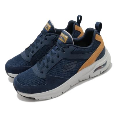 Skechers 休閒鞋 Arch Fit Servitica 男鞋 專利鞋墊 緩震 回彈 穩定 透氣 穿搭 藍 灰 232101NVY