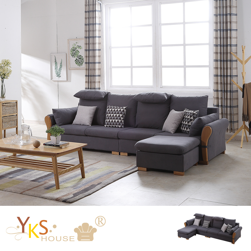 YKS-凱樂L型布沙發-獨立筒版