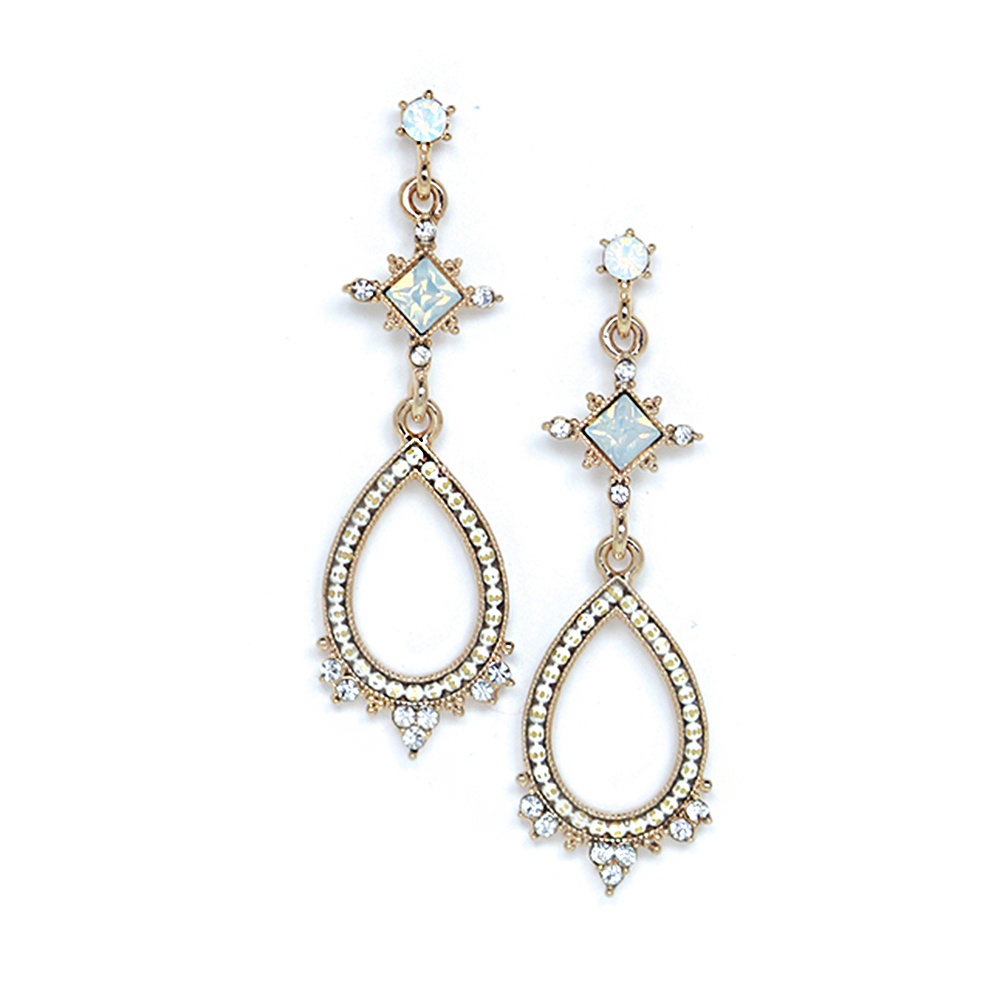 LOVERS TEMPO加拿大品牌 華麗復古水滴 水晶耳環 白色