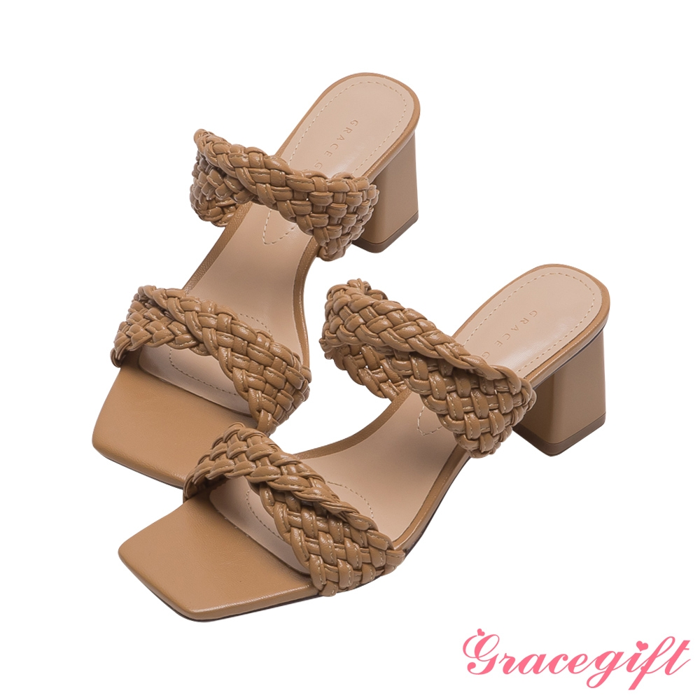 Grace gift-編織交叉中跟涼拖鞋 棕