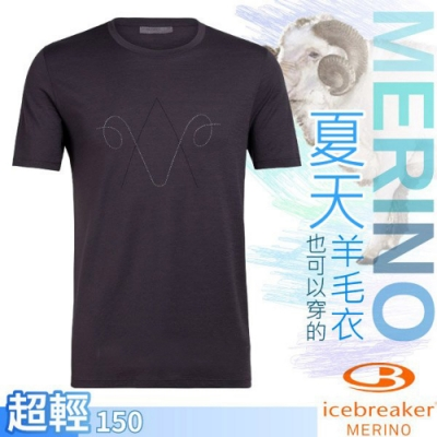 Icebreaker 男款 Nature Dye 美麗諾羊毛 圓領短袖上衣(經典山羊)_黑灰