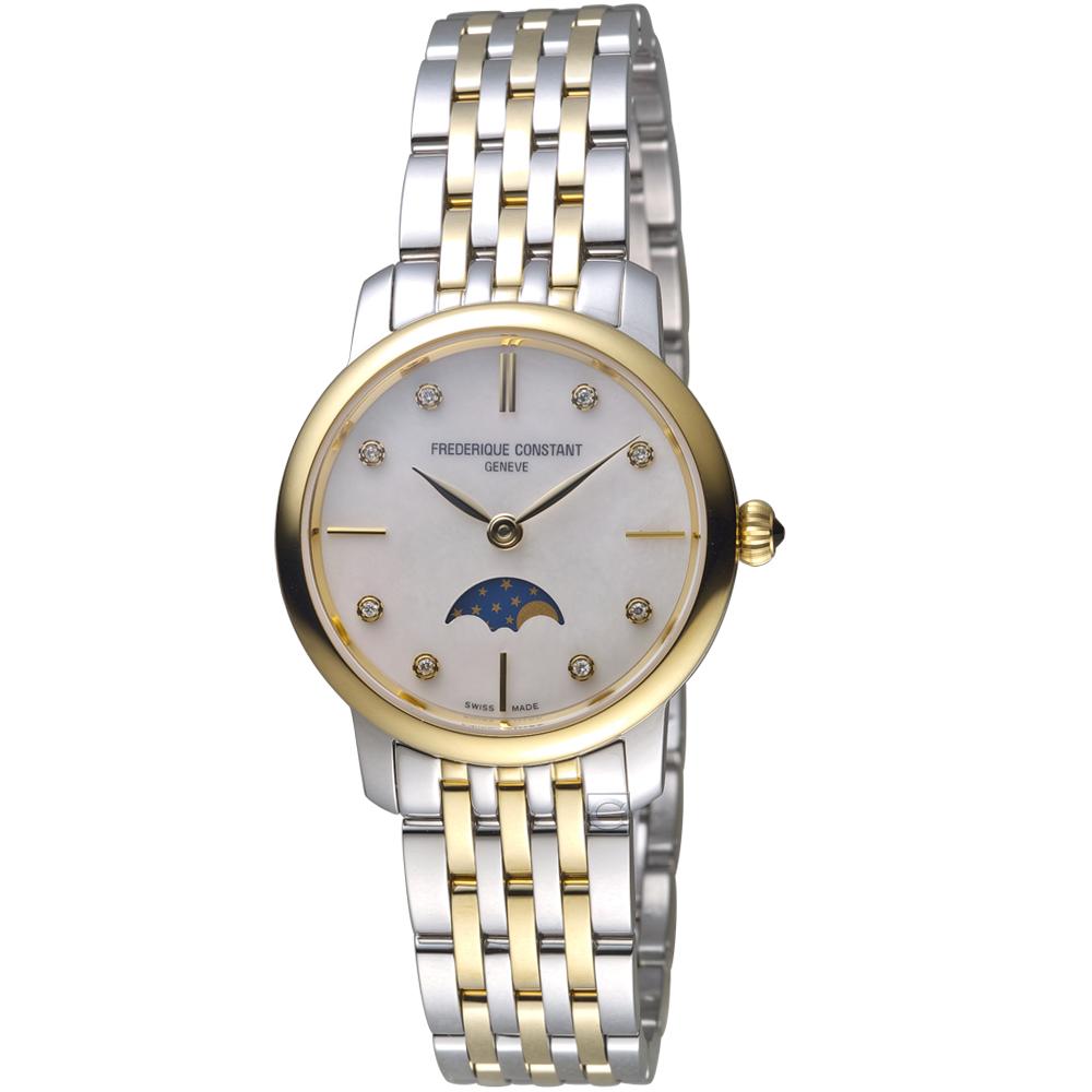 康斯登CONSTANT經典超薄月相女腕錶(FC-206MPWD1S3B)-金x銀