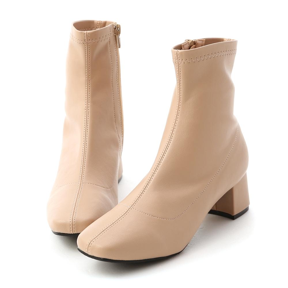 D+AF 秋冬定番.素面合腿中跟方頭襪靴*杏