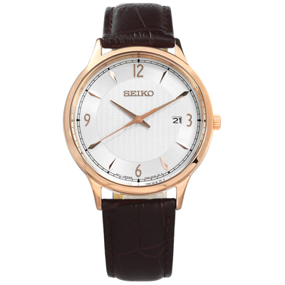 SEIKO 精工 簡約礦石玻璃日期防水牛皮手錶-銀x玫瑰金框x深棕/41mm