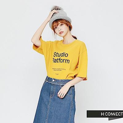 H:CONNECT 韓國品牌 女裝-標語圖像雙面T-shirt-黃