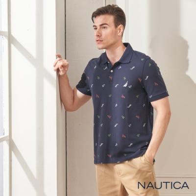 Nautica渡假風圖騰短袖POLO衫-深藍