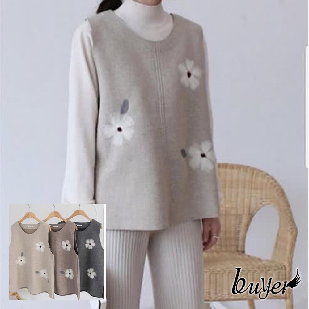 【buyer 白鵝】韓風 毛呢花朵保暖背心(米/可可/深灰)