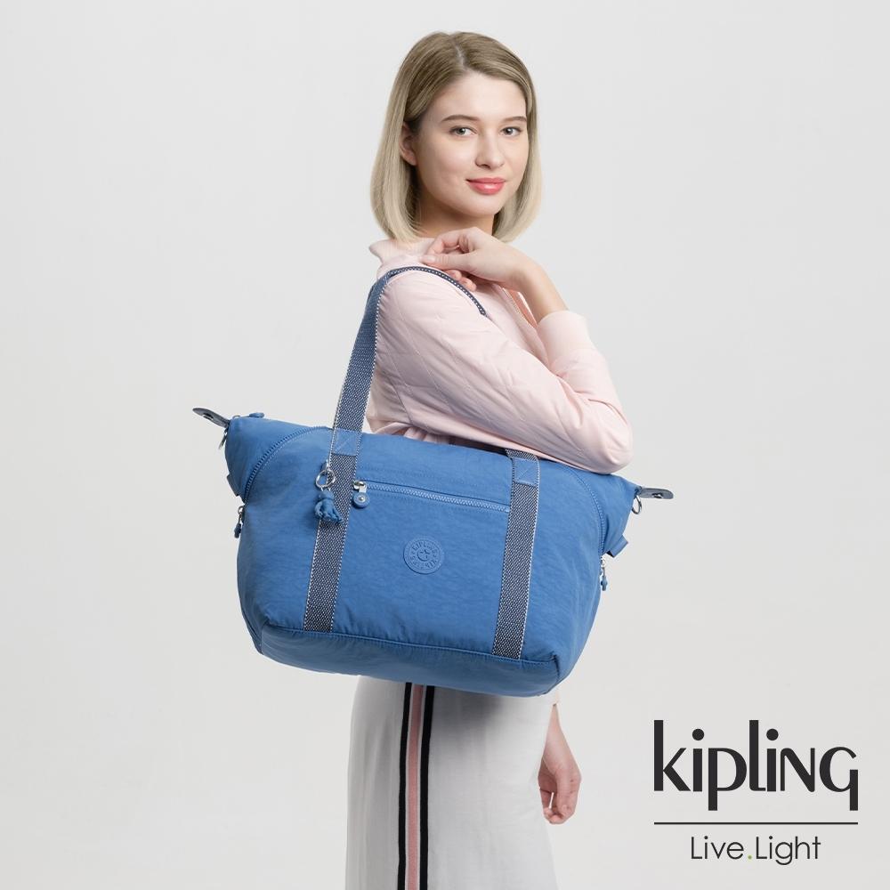 Kipling 經典海洋藍手提側背包-ART