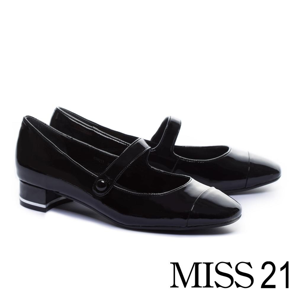 跟鞋 MISS 21 復古拼接設計方頭瑪莉珍全真皮低跟鞋-黑