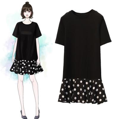 中大尺碼黑色圓領下擺拼接白色圓點洋裝XL~4L-Ballet Dolly