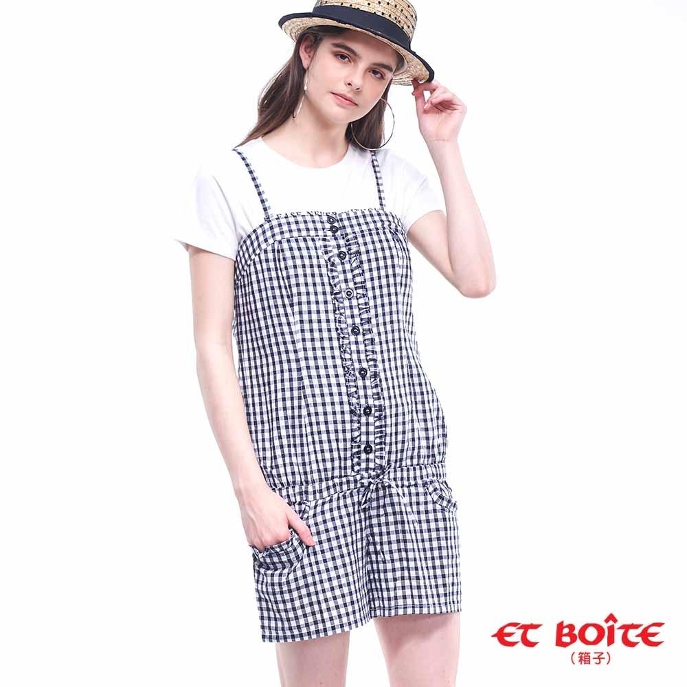 ETBOITE 箱子 BLUE WAY 格紋連身吊帶短褲-黑白格