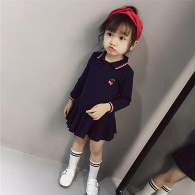 小衣衫童裝 女童深藍長袖polo衫百褶裙襬連身裙1080919