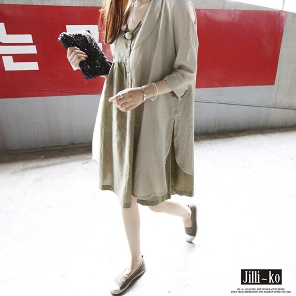 JILLI-KO 棉麻長版襯衫外套- 深卡