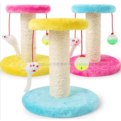 KiWi貓咪專用雙圓麻繩立柱貓抓板跳台 (附圓球&彈簧鼠)